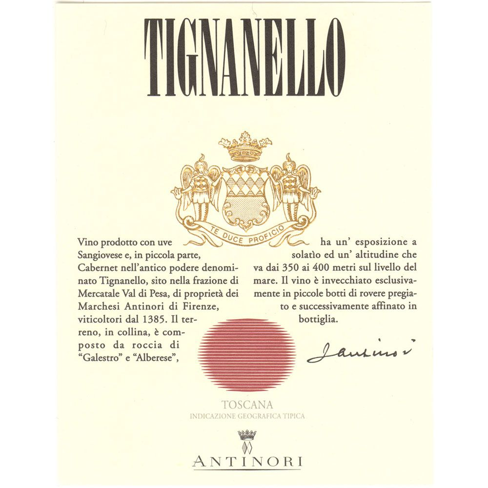 Antinori Tignanello 1997 Front Label