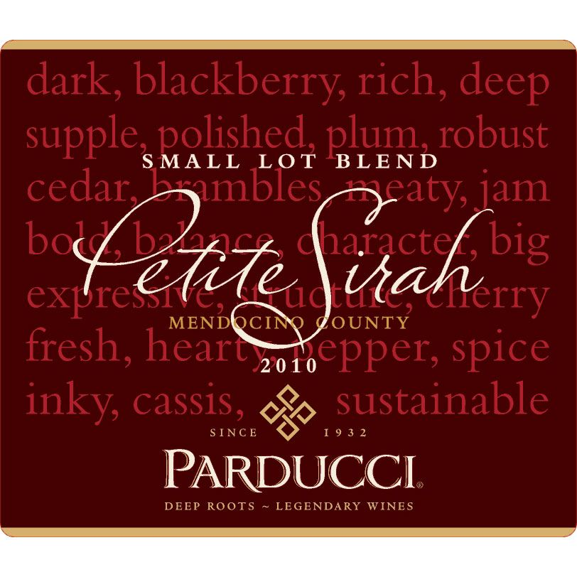 Parducci Small Lot Petite Sirah 2010 Front Label