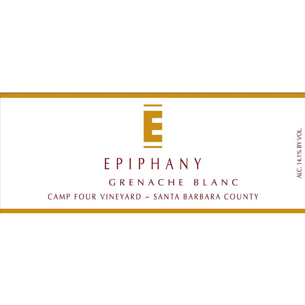 Epiphany Cellars by Fess Parker Camp Four Vineyard Grenache Blanc 2012 Front Label