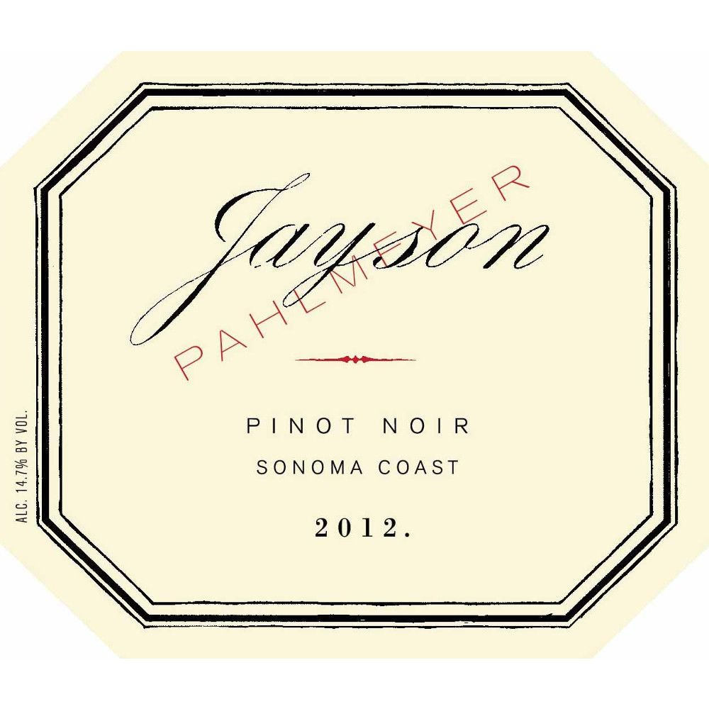 Pahlmeyer Jayson Pinot Noir 2012 Front Label
