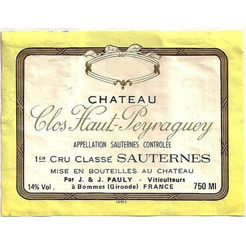 Chateau Clos Haut Peyraguey (375ML half-bottle) 2001 Front Label