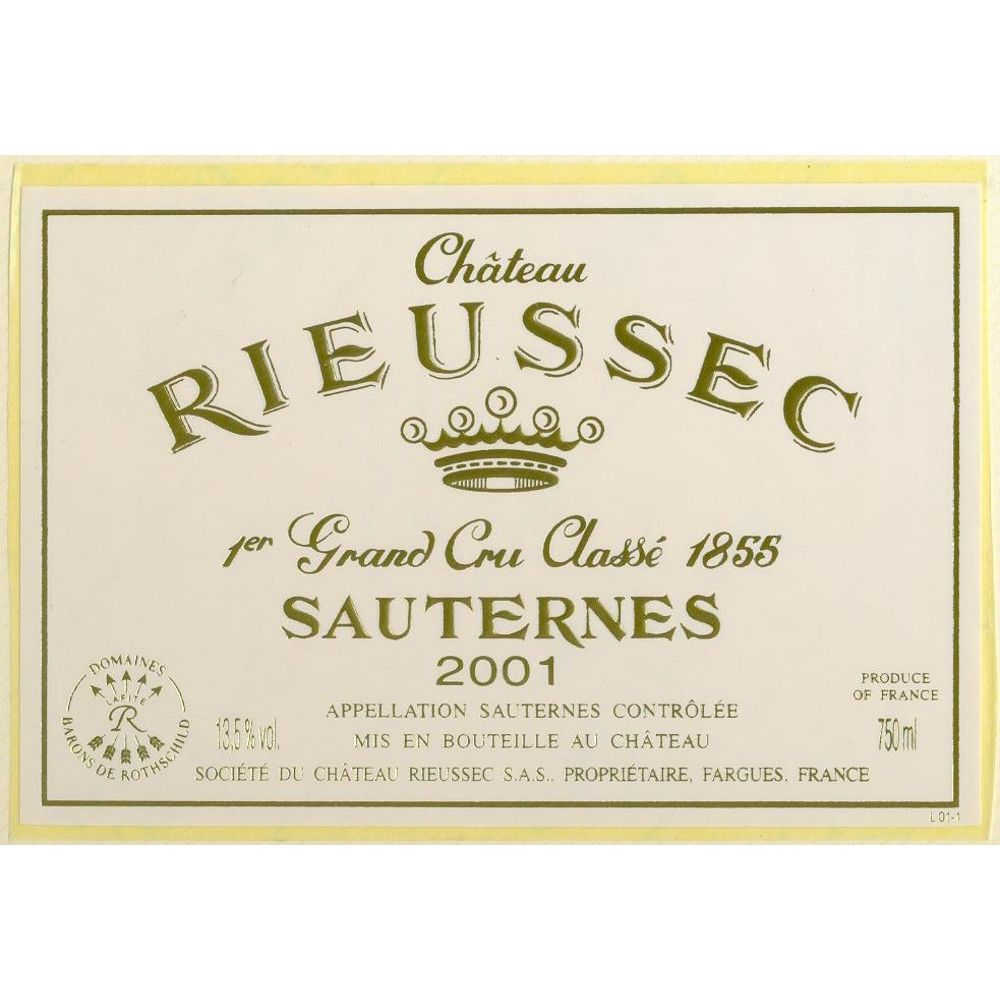 Chateau Rieussec Sauternes (375ML half-bottle) 2001 Front Label