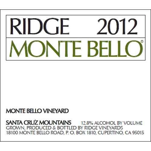 Ridge Monte Bello 2012 Front Label