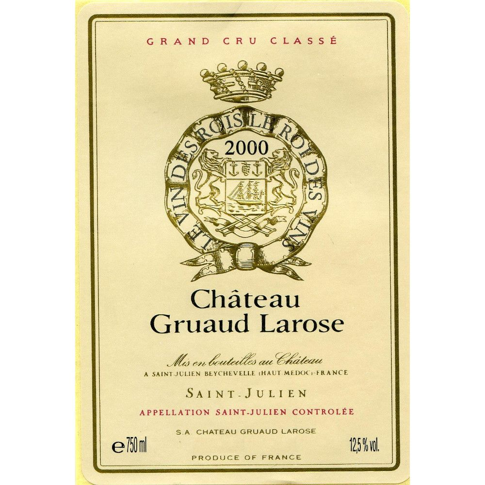 Chateau Gruaud Larose (3 Liter Bottle) 2000 Front Label