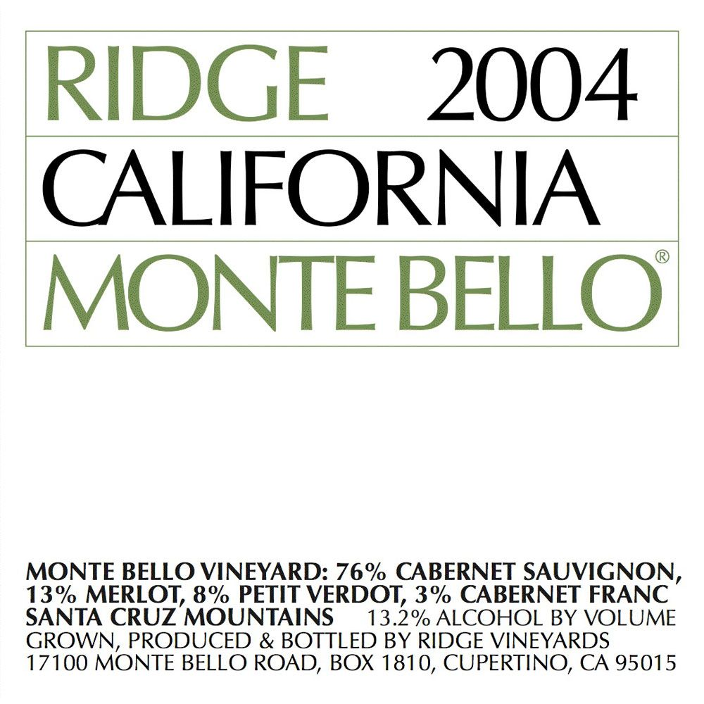 Ridge Monte Bello 2004 Front Label