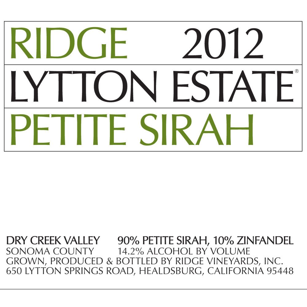 Ridge Lytton Estate Petite Sirah 2012 Front Label