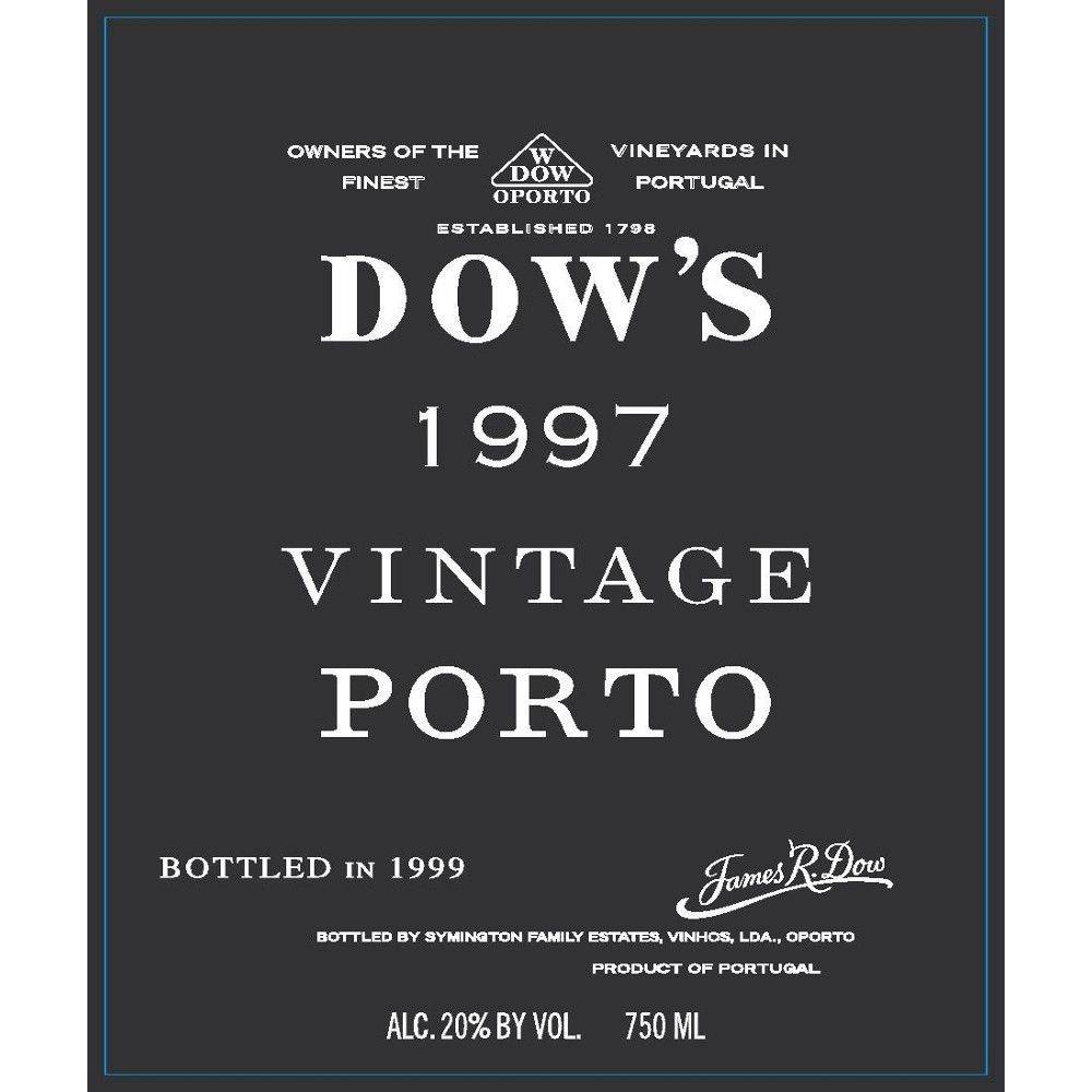 Dow's Vintage Port (375ML half-bottle) 1997 Front Label