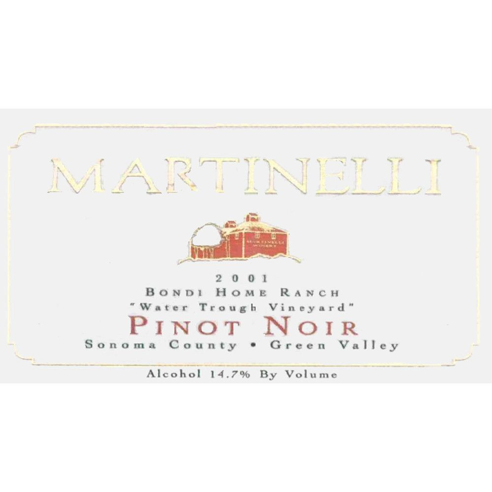 Martinelli Bondi Home Ranch Pinot Noir 2001 Front Label