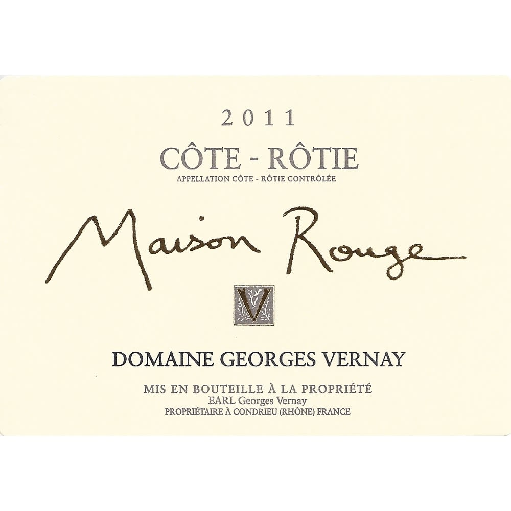 Georges Vernay Cote-Rotie Maison Rouge 2011 Front Label