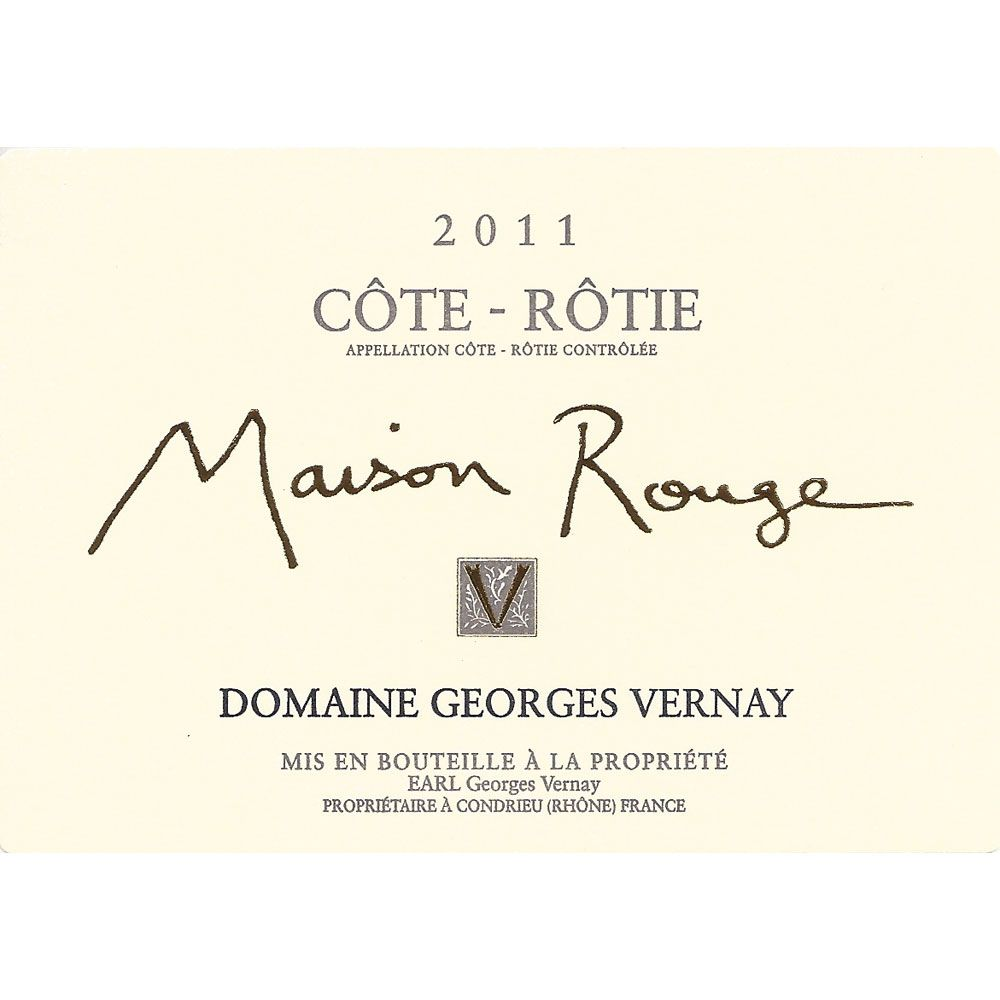 Georges Vernay Cote-Rotie Maison Rouge (1.5 Liter Magnum) 2011 Front Label