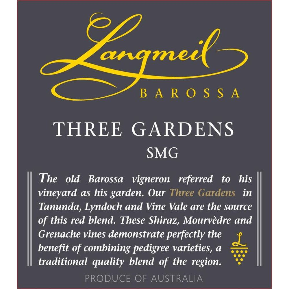 Langmeil Three Gardens SMG 2012 Front Label