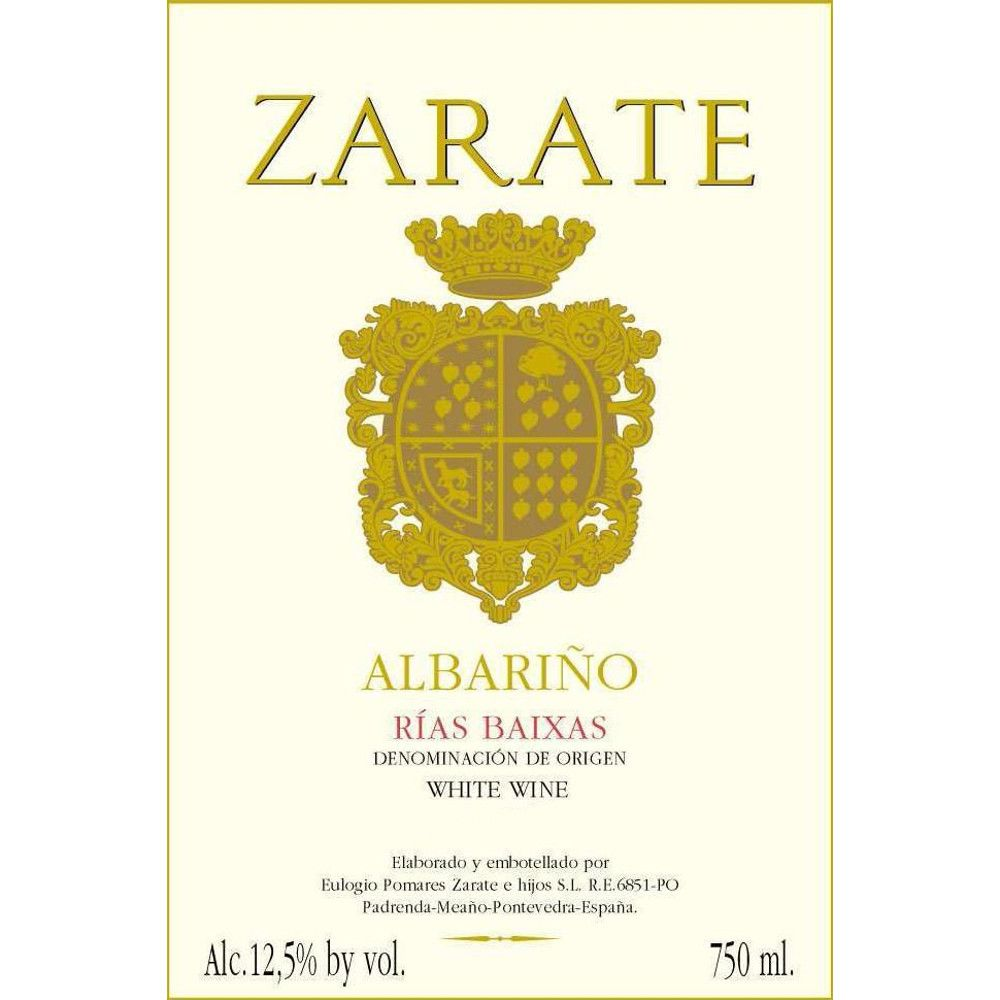 Zarate Albarino 2012 Front Label