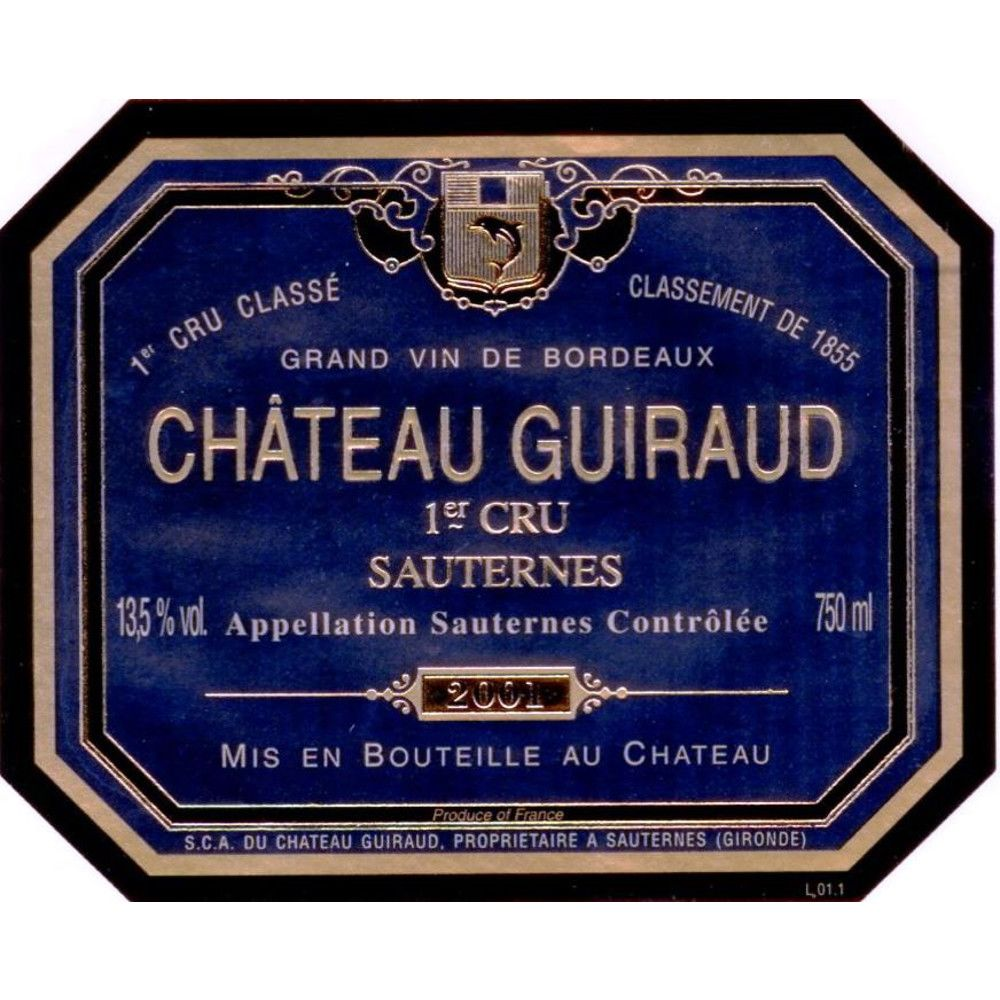 Chateau Guiraud Sauternes (375ML half-bottle) 2001 Front Label