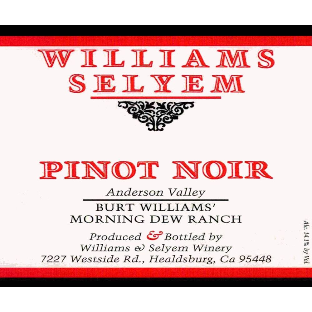 Williams Selyem Burt Williams Morning Dew Ranch Pinot Noir 2012 Front Label