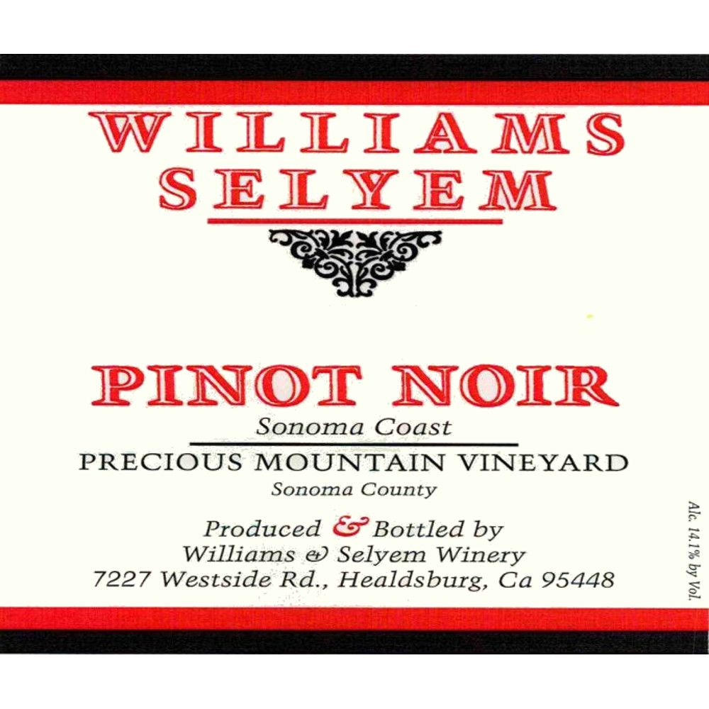 Williams Selyem Precious Mountain Pinot Noir 2012 Front Label