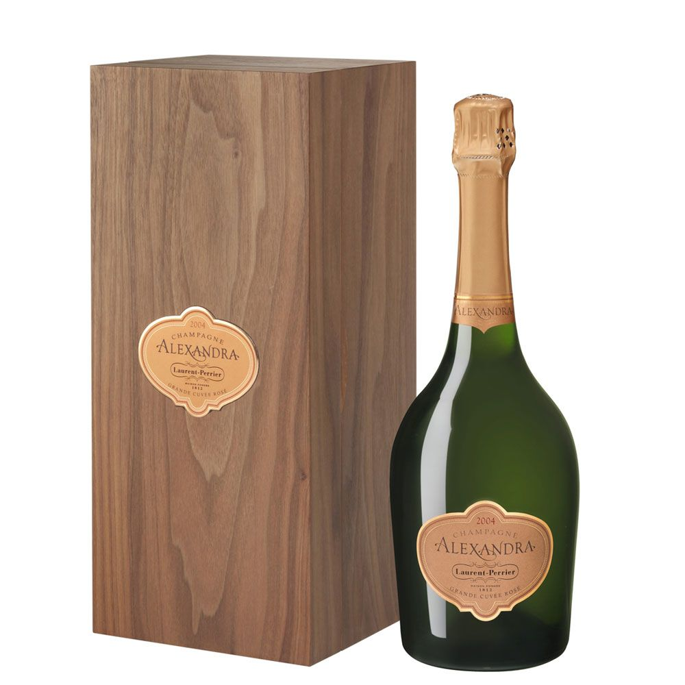 Laurent-Perrier Alexandra Rose in Wooden Gift Box 2004 Front Label
