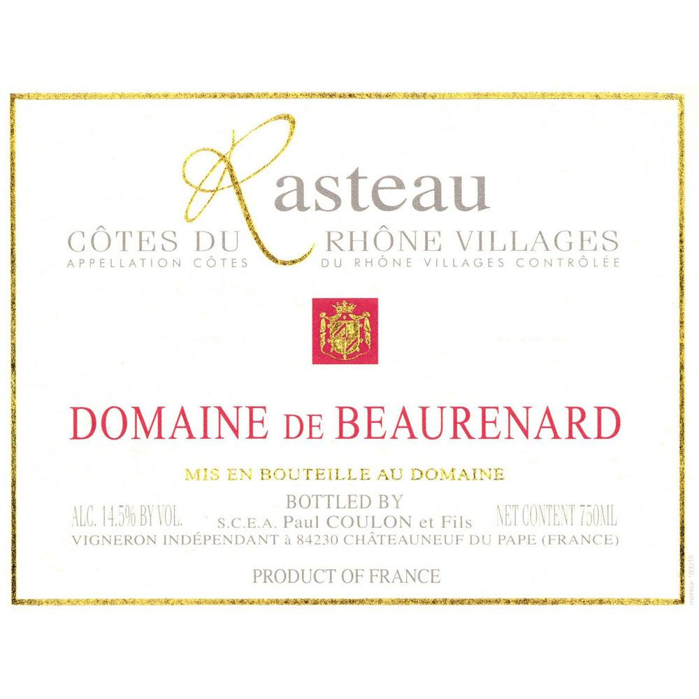 Domaine de Beaurenard Rasteau Cotes du Rhone Villages 2012 Front Label