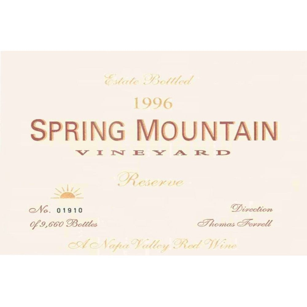 Spring Mountain Vineyard Reserve Cabernet Sauvignon 1996 Front Label