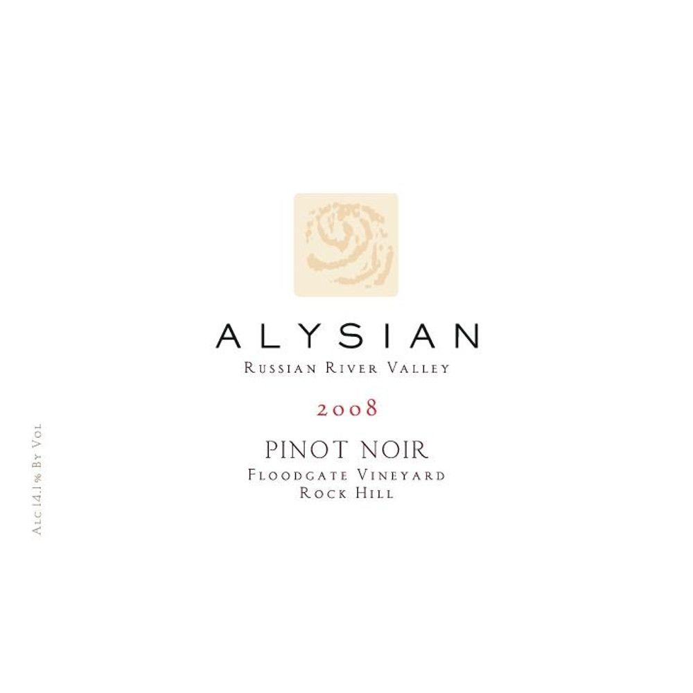 Alysian Floodgate Vineyard Pinot Noir 2008 Front Label
