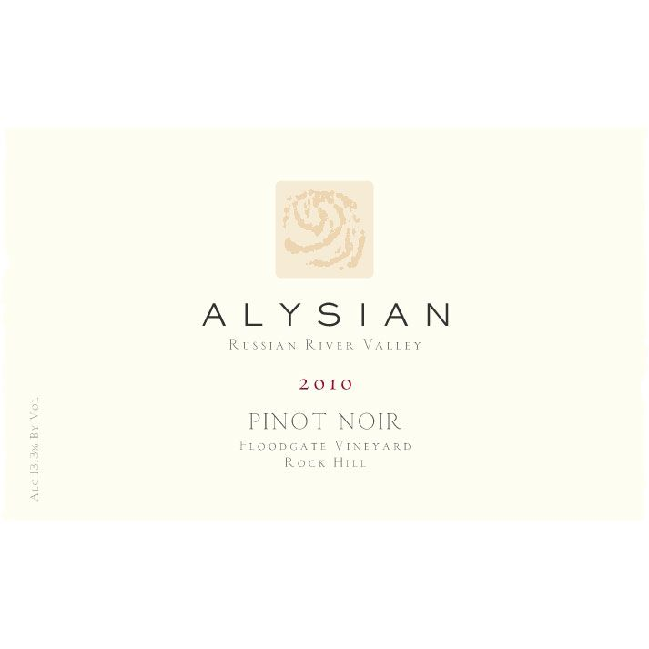 Alysian Floodgate Vineyard Pinot Noir 2010 Front Label