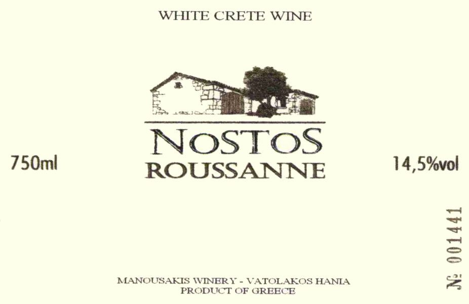 Manousakis Estate Nostos Roussanne 2015 Front Label