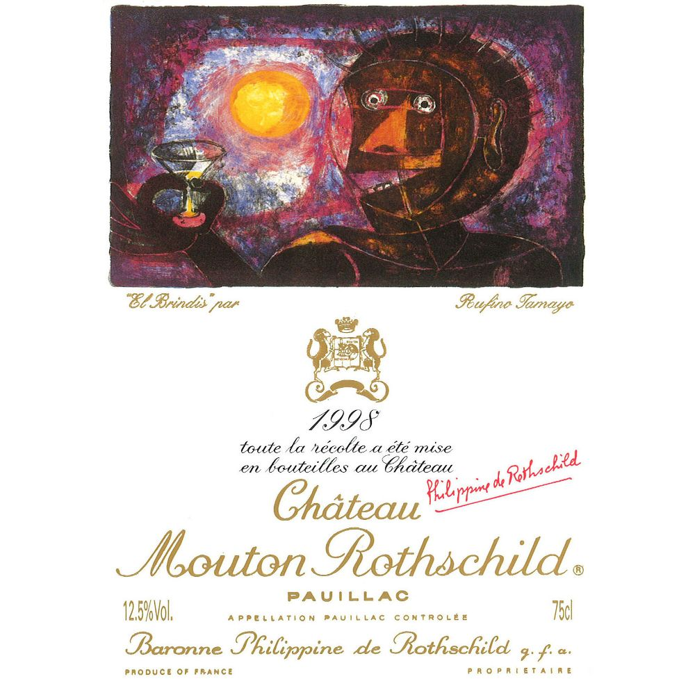 Chateau Mouton Rothschild (1.5 Liter Magnum) 1998 Front Label
