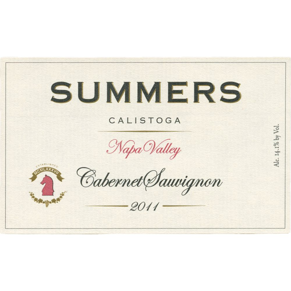 Summers Estate Calistoga Cabernet Sauvignon 2011 Front Label