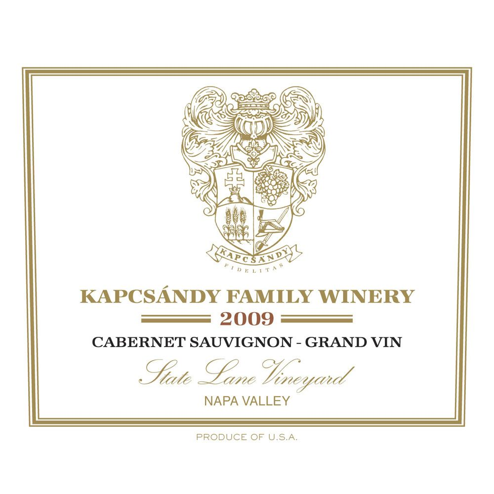 Kapcsandy Family Winery State Lane Cabernet Sauvignon Grand Vin (1.5L) 2009 Front Label