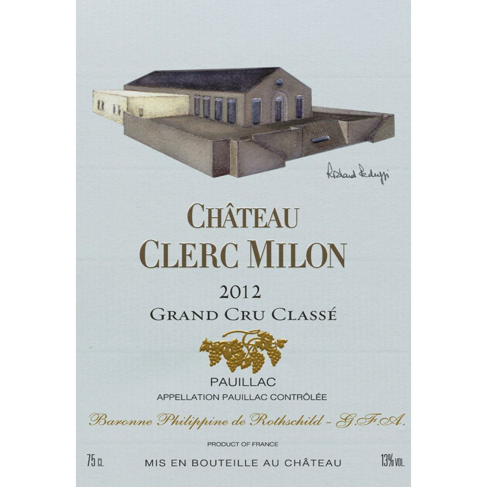 Chateau Clerc Milon  2012 Front Label