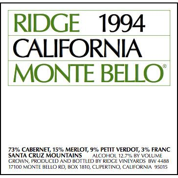 Ridge Monte Bello (1.5 Liter Magnum) 1994 Front Label