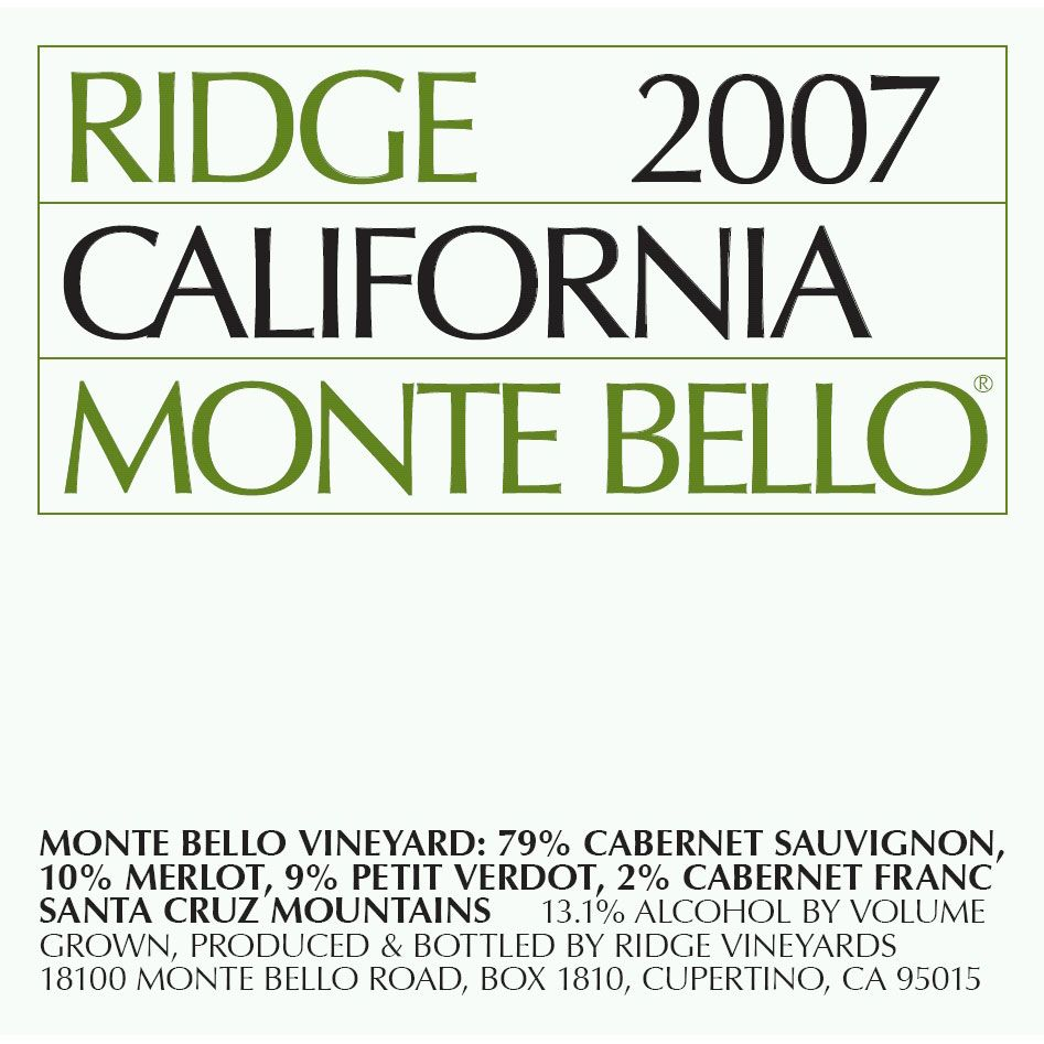Ridge Monte Bello (3 Liter Bottle) 2007 Front Label