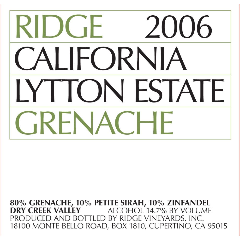 Ridge Lytton Estate Grenache 2006 Front Label