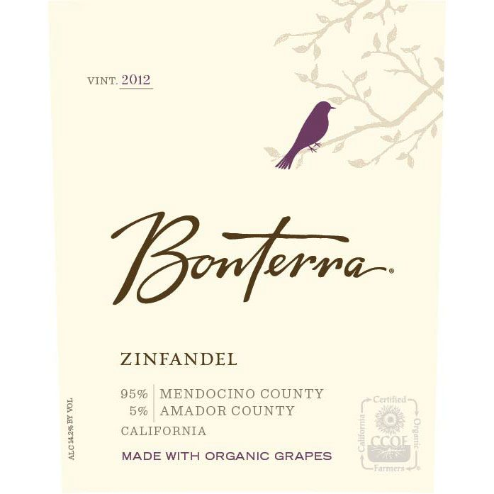 Bonterra Organically Grown Zinfandel 2012 Front Label
