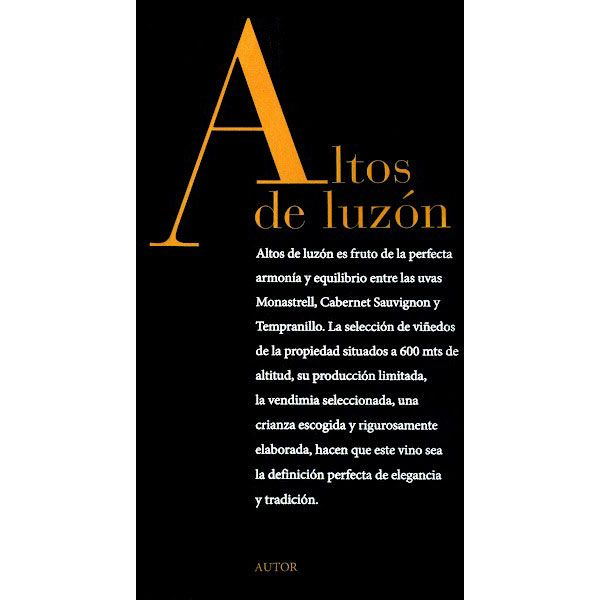 Bodegas Luzon Altos de Luzon 2010 Front Label