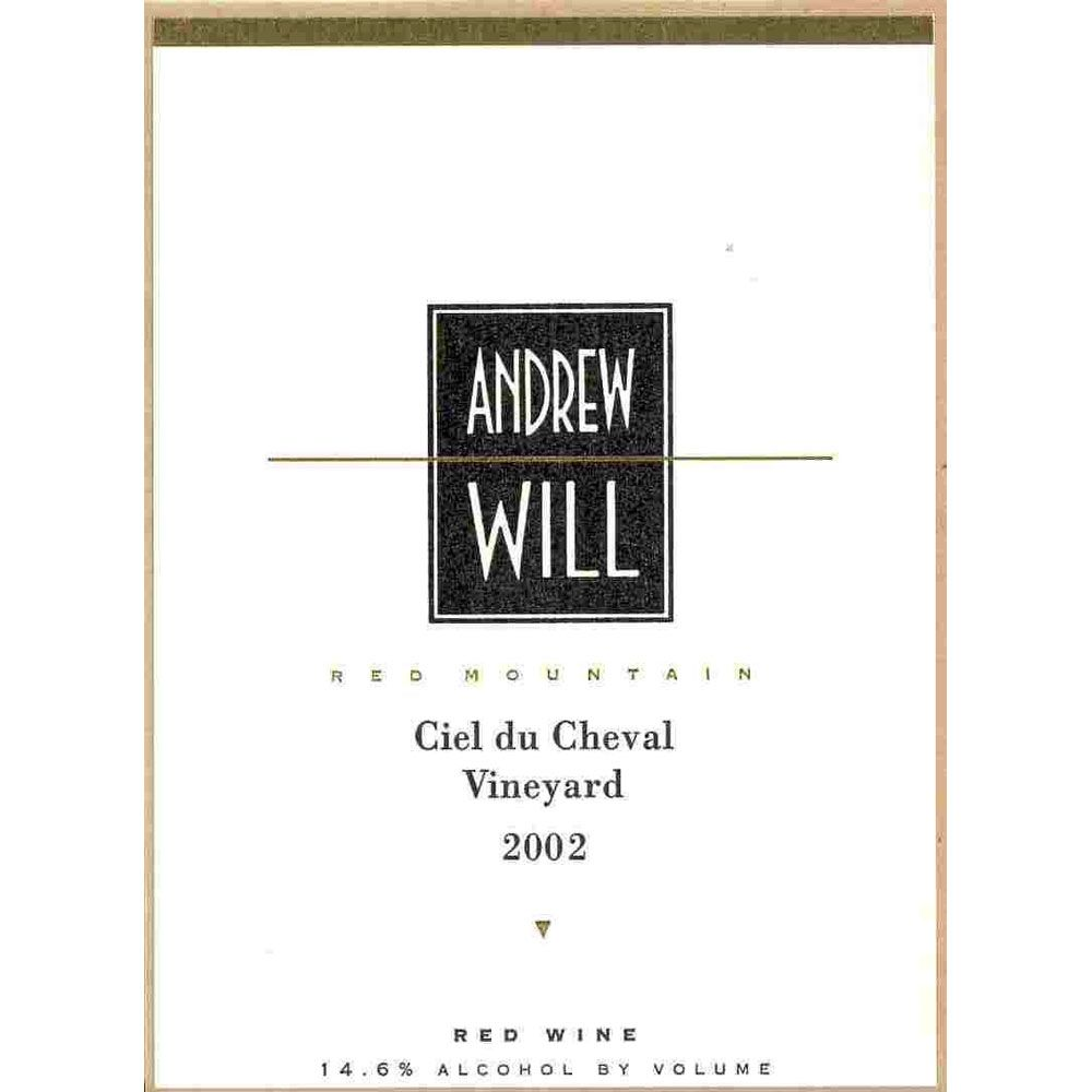 Andrew Will Winery Ciel du Cheval 2002 Front Label