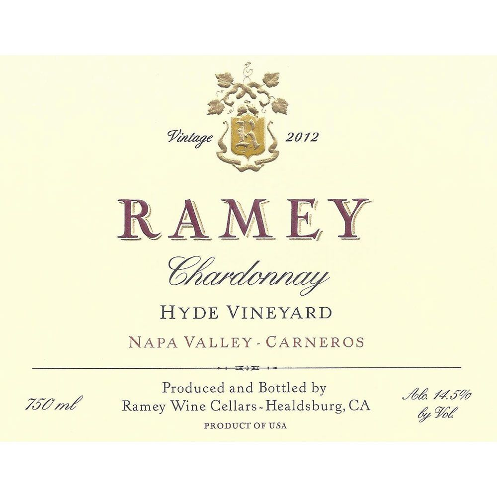 Ramey Hyde Vineyard Chardonnay 2012 Front Label