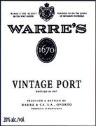 Warre's Vintage Port 1980 Front Label