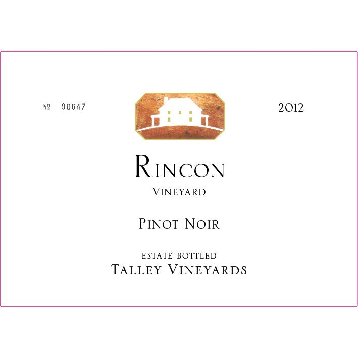 Talley Rincon Vineyard Pinot Noir 2012 Front Label