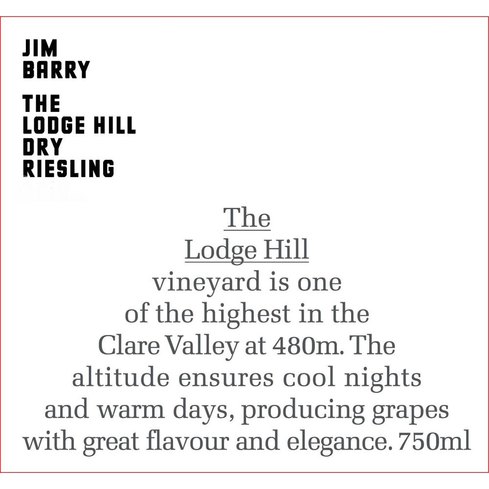 Jim Barry Lodge Hill Riesling 2013 Front Label