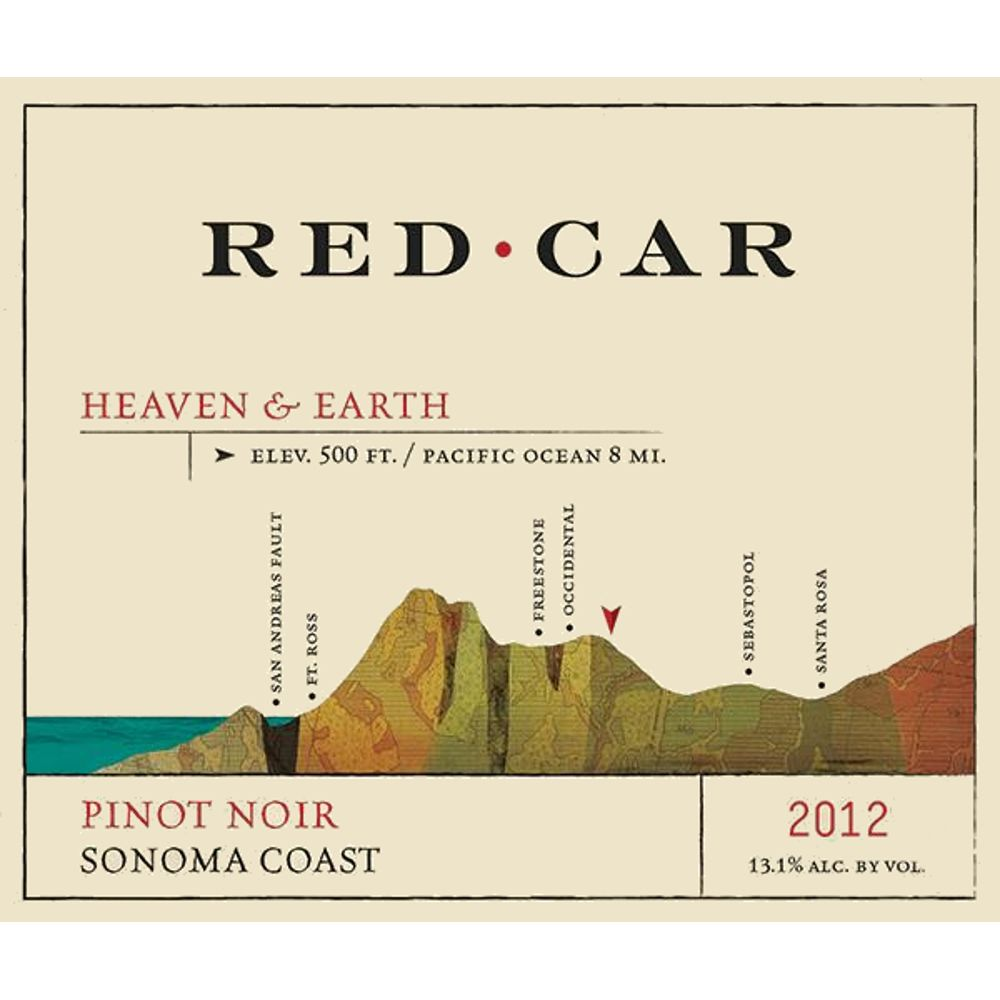 Red Car Heaven & Earth Pinot Noir 2012 Front Label