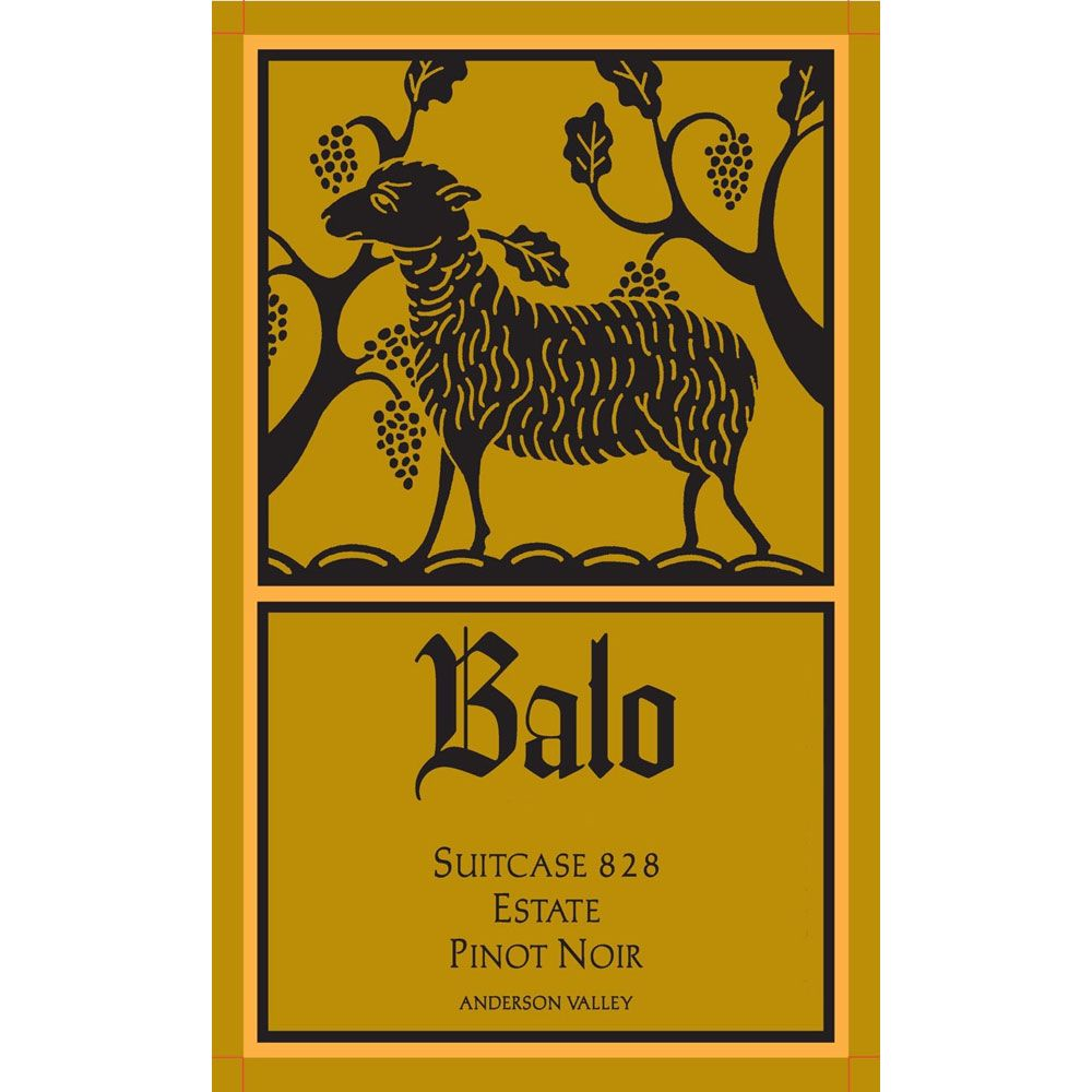 Balo Anderson Valley Suitcase 828 Pinot Noir 2012 Front Label