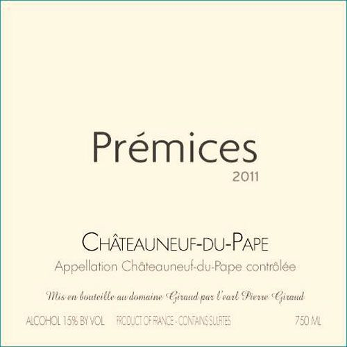 Domaine Giraud Chateauneuf-du-Pape Premices 2011 Front Label