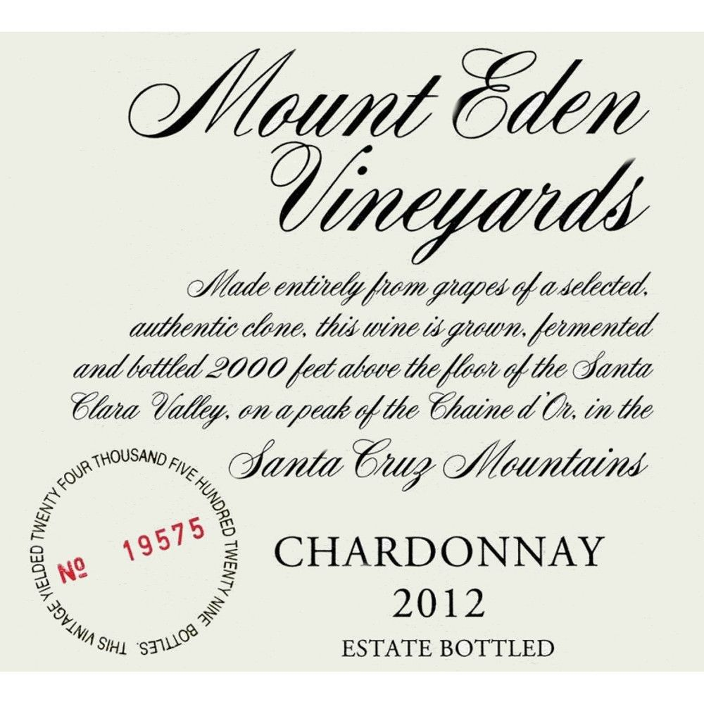 Mount Eden Vineyards Estate Chardonnay 2012 Front Label
