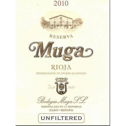 Bodegas Muga Reserva with Muga Corkscrew 2010 Front Label