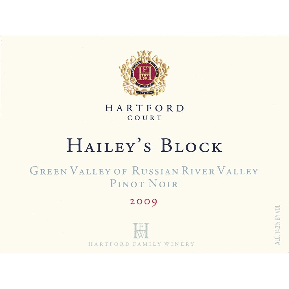 Hartford Court Hailey's Block Pinot Noir 2009 Front Label