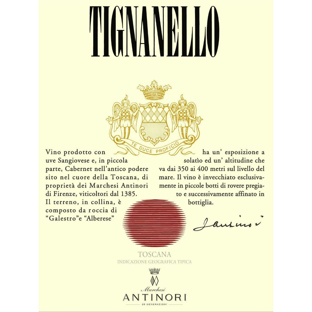 Antinori Tignanello 2012 Front Label