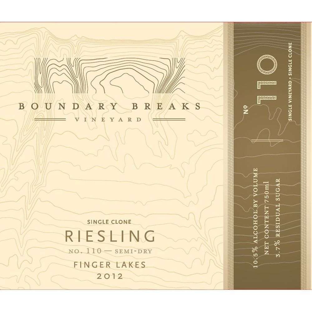 Boundary Breaks No.110 Semi-Dry Riesling 2012 Front Label
