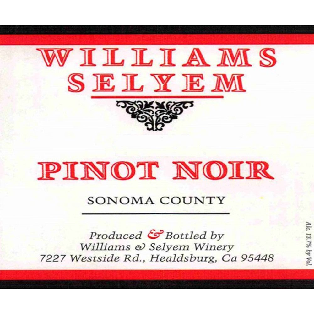 Williams Selyem Sonoma County Pinot Noir 2013 Front Label