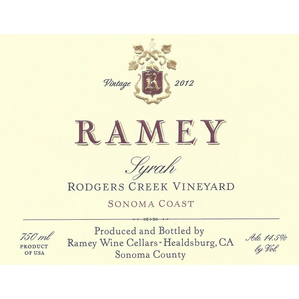 Ramey Rodgers Creek Vineyard Syrah 2012 Front Label