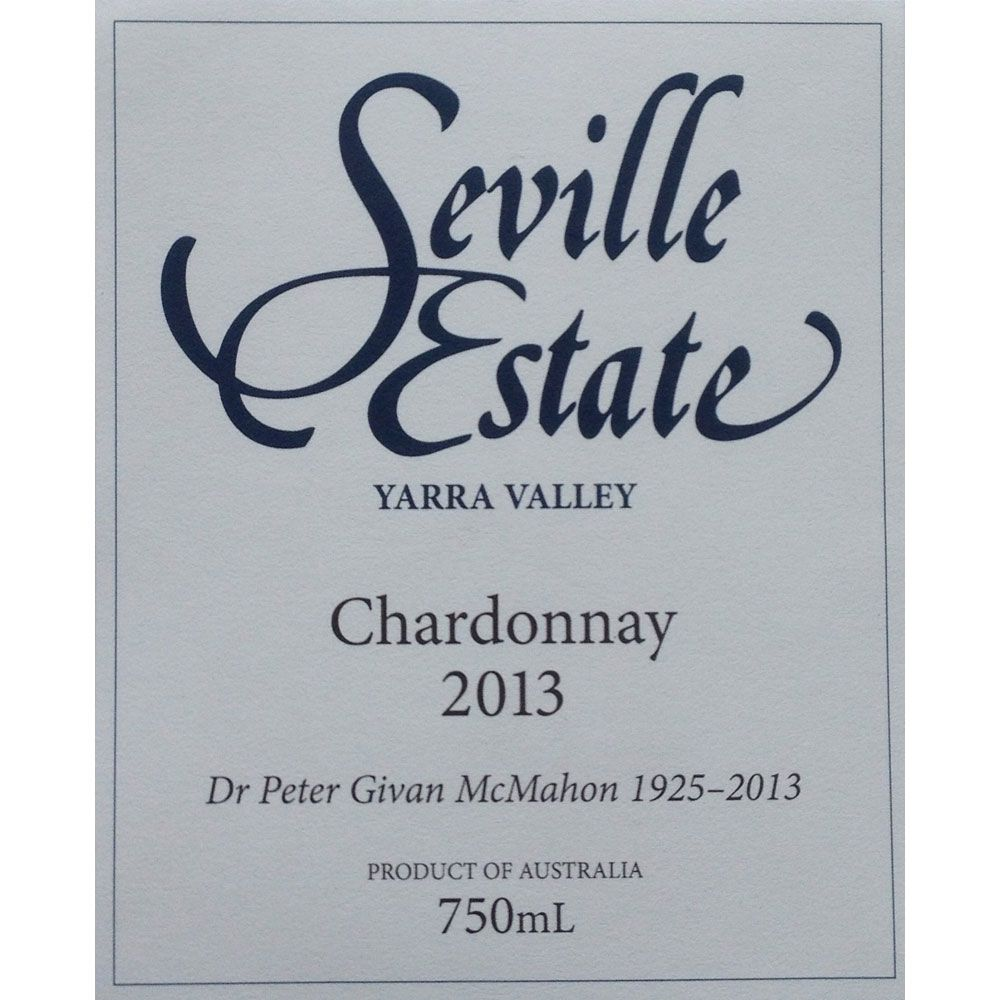 Seville Estate Chardonnay 2013 Front Label